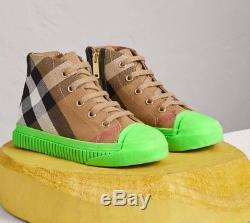 Burberry Kids Neon Green House Check High Top Sneakers Euro 31 Boys Or Girls