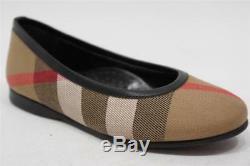 Burberry Nova Check Canvas Girls Flat Ballerina Shoes 27/10.5
