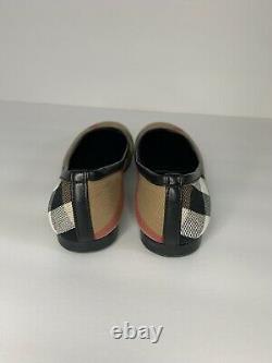 Burberry Nova Check Canvas Girls Flat Ballerina Shoes 31