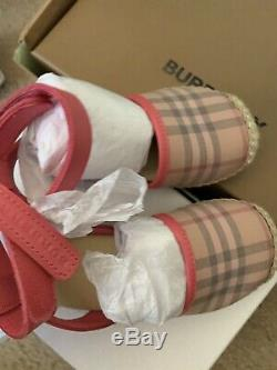 Burberry kids baby girl shoes espadrilles, bright rose 23us size, nwt, gift box
