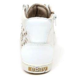 C9734 sneaker alta bimba SIMONETTA scarpa bianco borchie shoe kid girl