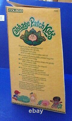 Cabbage Patch Kids 1983 Girl Eyes Brown Hair Turquoise Dress Duck Shoes Coleco