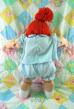 Cabbage Patch Kids Jesmar Spain Girl Doll Blue Eyes Red Hair CPK Clothes Shoes