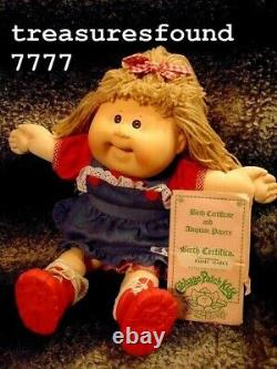 Cabbage Patch Kids Vintage 16 Girl Doll/Rare Head Mold #19/Teeth/DressSet/Shoes