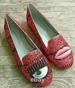 Chiara Ferragni Pink Glitter Flat Shoes Size Uk 2 / Eu 35 Bnib