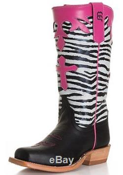 Children's/ Girls Anderson Bean Tall Zebra Top With Cross Western Boots K7035