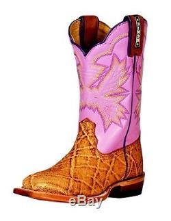 Cinch Western Boots Girls Leather Kids Elephant Print Tan Lilac KCK109