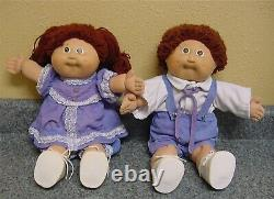 Coleco Cabbage Patch Kids Twins Brown Hair Eyes Boy Girl Vintage SHOES SOCKS