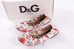 Dolce & Gabbana D&g Kids Girls Pink White Floral Ballerina Flats 34/ 2 New