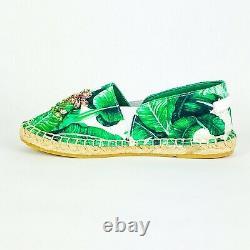 DOLCE & GABBANA Girls Espadrilles Slip On Shoes Cotton NEW Green Banana Leaf 31
