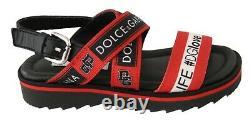 DOLCE & GABBANA Shoes Red Black Flat Sandals #DGLOVE EU26 / US9.5 RRP $350