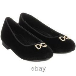 Dolce And Gabbana Kids Girls Velvet Shoes Eu 29 Uk 11