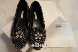 Dolce Gabbana Girl Tweed Shoes Flats 35 Flower Stones $645