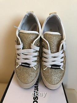 Dsquared 2 Girls Gold Glitter Crosta Sweet Trainers In Kids Size 12 Euro 31 Bnib