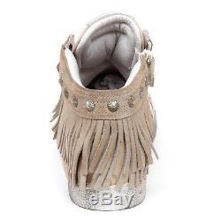 E2460 sneaker bimba MOMINO scarpe frange vintage leather shoe kid girl