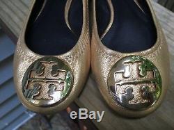 EEUC Tory Burch KIDS Reva Metallic Gold Leather Ballet Flats in Girls Size 10C