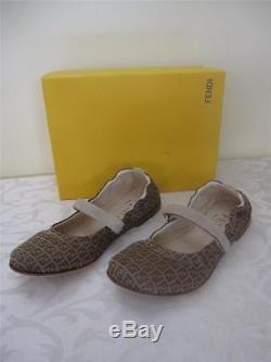 Fendi Logo Ballerina Kids Girls Brown Camoscio Flats Shoes 11/30 $380 Nib