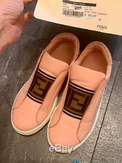 Fendi Authentic Pink Girls Kids Logo Slip On Trainer Shoe Size Eu 33 UK 1 In Box
