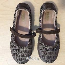 Fendi Ballerina Kids Girls Shoes Mary Jane Size 28 US 11 Withbox