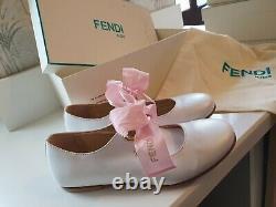 Fendi kids white metalic cutout ballerina shoes uk 13