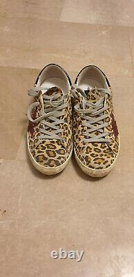 GOLDEN GOOSE Super Star leopard-print leather sneakers shoes IT 36