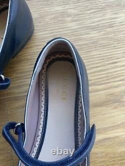 GUCCI Girl Bow Mary Jane Navy Blue Ballet Flat Shoes Size 30 12.5