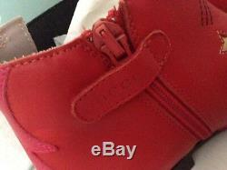 GUCCI Kids/Girls Red Leather Ankle Boots. Size EU 33 New