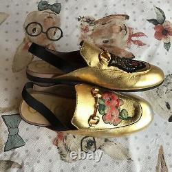 GUCCI Kids Slingback Shoes Embroidered Sz EUR 33