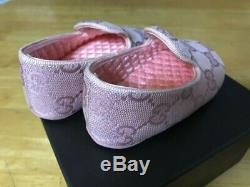 GUCCI children baby first shoes girls pink size 18 canvas Unused