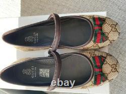 Genuine Gucci girls GG Ballerina Shoes (size eu 35 / uk 2.5)