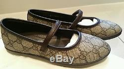 Girl Classic Gucci Kids Brown Leather Logo Mary Jane Shoes Ballet Pumps 31 UK12