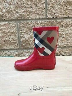 Girl's Burberry Ranmoor Red Heart Rain Boot, Sz US 11.5 for kids 3 6 yrs
