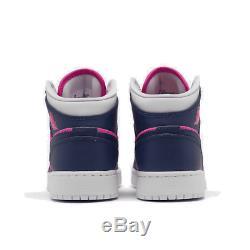 Girls' Big Kids' Air Jordan 1 Mid Casual Shoes Fire Pink/Regency Purple/Barely G
