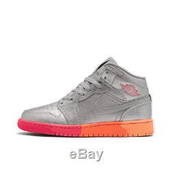 Girls' Big Kids' Air Jordan 1 Mid Casual Shoes Metallic Silver/Racer Pink/Wolf G