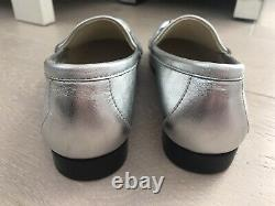 Girls Gucci Loafers Shoes Silver Leather 31 EU 12 UK Harrods New In Box