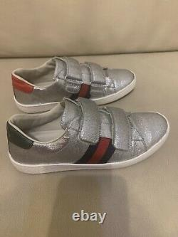 Girls Gucci Silver Glitter Trainers Shoes Size 35 UK Size 2