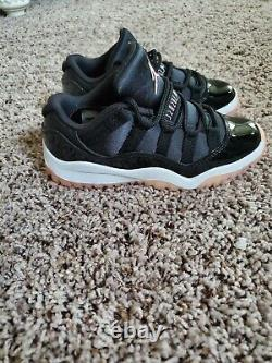 Girls Jordan Sneakers 11 Retro Low Black/ Bleached Coral-white 580522 US Shoe S