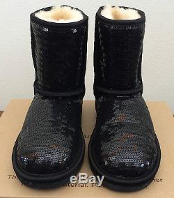 Girls Kids Youth 13 Black UGG Classic Short Sparkles Warm Winter Boots 1004885K