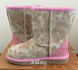 Girls Kids Youth Size 1 UGG Pink Classic Short Camo Winter Boots Warm 1011369