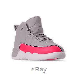 Girls' Little Kids' Air Jordan Retro 12 Basketball Shoes Wolf Grey/Racer Pink/Bl