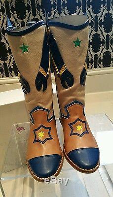 Girls Stella McCartney Kids Blue Brown Yellow Green Horse Cowboy Boots 30 UK12