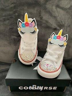 Girls Unicorn Converse Trainer Shoes & Swarovski Crystals size 9 Children Kids