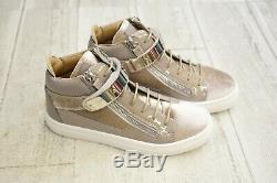 Giuseppe Zanotti Kids Jasper Velvet Sneakers, Little Girl's 13-13.5, Pearl NEW