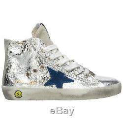 Golden Goose Girls Shoes Child Leather High Top Sneakers New Francy Silver 3fe