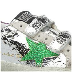 Golden Goose Girls Shoes Child Leather Sneakers New Old School Silver 4f5