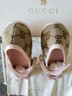 Gucci Beige Ebony GG Logo Canvas Ballet KIDS SIZE 33EU /13.5-1 US Toddler SHOE