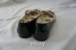 Gucci Black & Pink Kids Children's Patent Leather Ballet Flats Shoes with Stripe