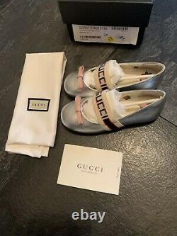 Gucci Brand new Girls Silver Flat Logo Ballet Pumps Slip On Shoes Eu 24 UK 7.5