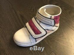 Gucci GG Girl White Pink Leather Velcro Boots Shoes Size 26