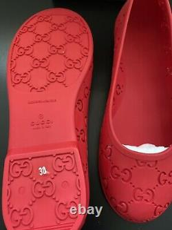Gucci GG Rubber Flat Shoes For Girl In Red
